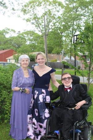 Prom's a family affair with Julie Huddon, her grandmother Helen Danis and her son Evan.