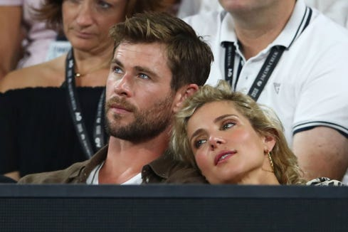 Chris Hemsworth and his wife Elsa Pataky at the 2018 Australian Open at Melbourne Park in  Australia.