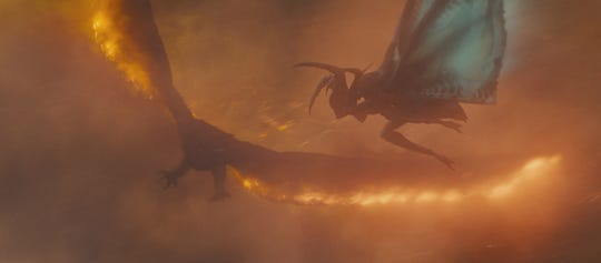 "Rodan (left) is a fiery foe for Mothra in ""Godzilla: King of the Monsters."""