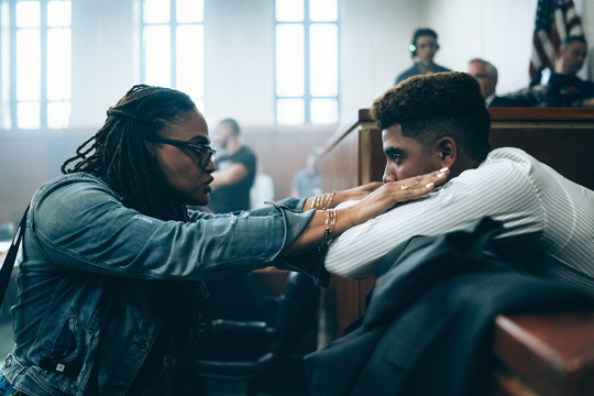 """Writer/director Ava DuVernay, left, and actor Jharrel Jerome on the set of Netflix's """"When They See Us."""""""