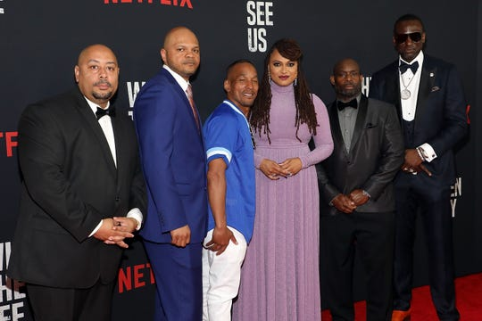 """Ava DuVernay, center, with Kevin Richardson, Antron Mccray, Raymond Santana Jr., Korey Wise and Yusef Salaam, collectively known as the """"Central Park Five."""""""