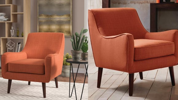 This orange colored armchair will be that pop of color you need.