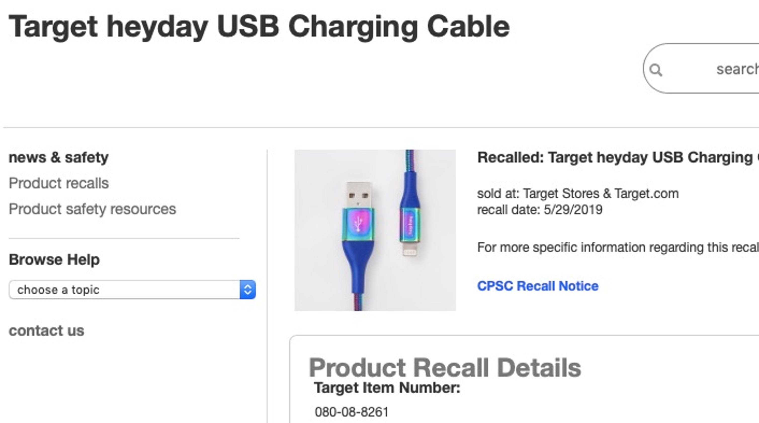 Target Recall 90000 Usb Charging Cables That Can Shock Or Catch Fire