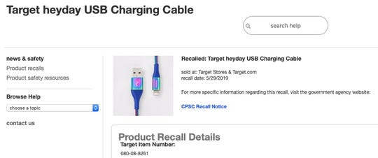Target is recalling USB charging cables.