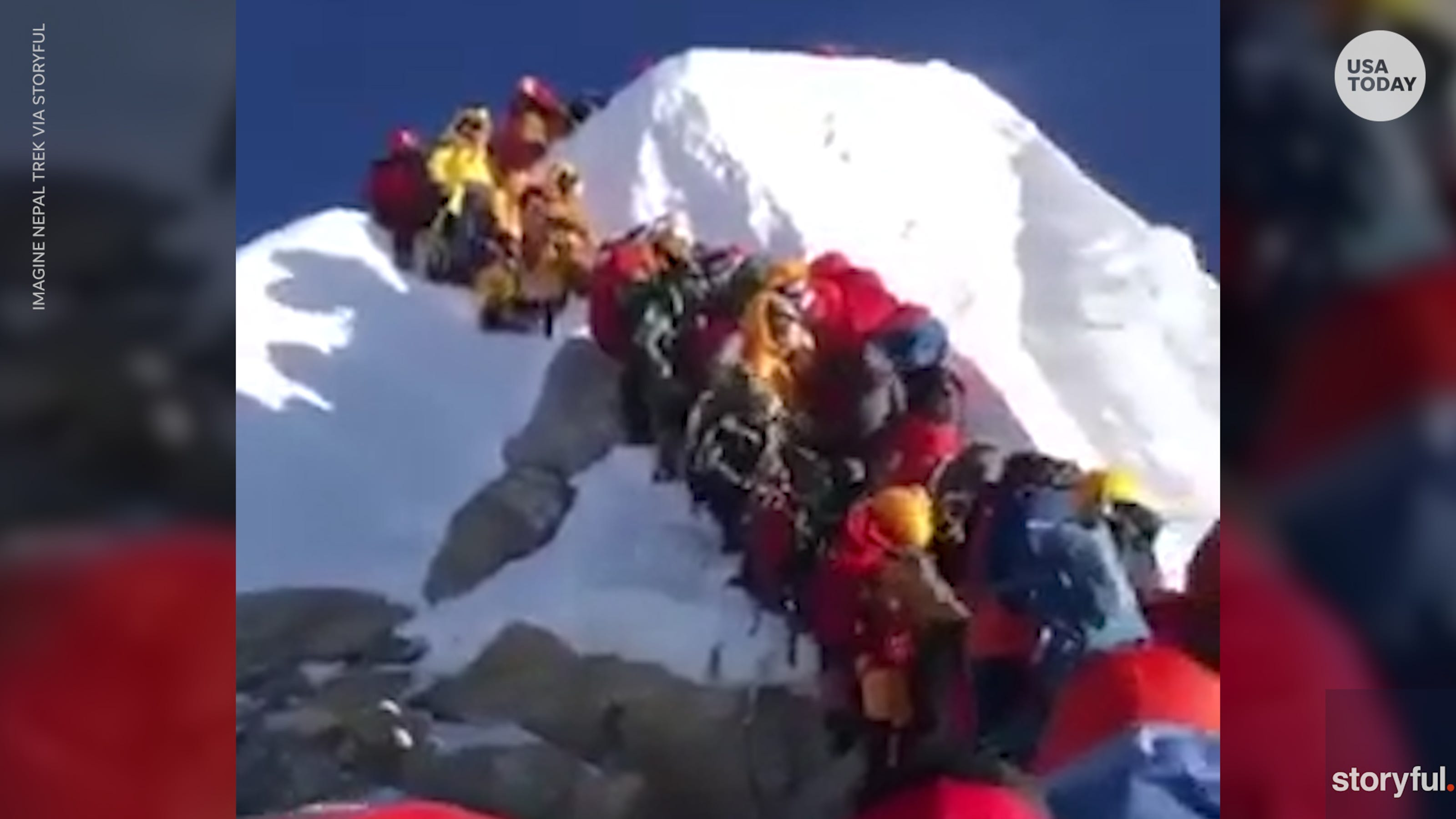 Mount Everest climbers lined up at 'death zone'
