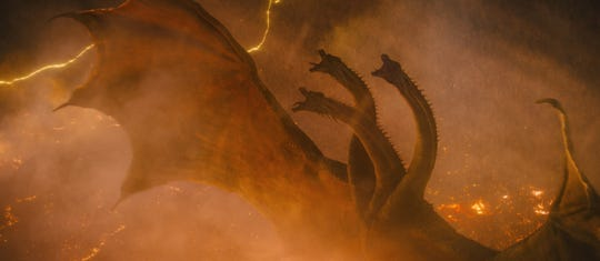 "King Ghidorah raises his (three) ugly heads in ""Godzilla: King of the Monsters."""