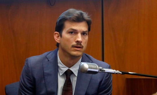Actor Ashton Kutcher testifies in court in Los Angeles on May 29, 2019.