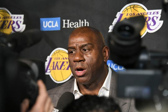Magic Johnson abruptly resigned as the Los Angeles Lakers' President of Basketball Operations on April 9 before the team's game against the Portland Trail Blazers.