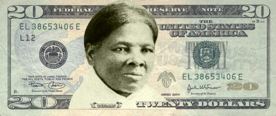 A mock-up of a Harriet Tubman twenty dollar bill provided by Women on 20s, a non-profit, grassroots organization working to put a woman's face on the Unites States $20 banknote.