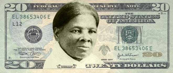 A mock-up of a Harriet Tubman $20 bill provided by Women on 20s, a nonprofit, grassroots organization working to put a woman's face on the $20 U.S. banknote.
