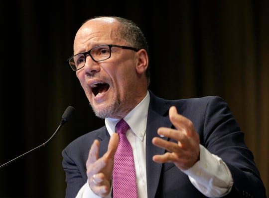 In this April 3, 2019, photo, Tom Perez, chairman of the Democratic National Committee, speaks during the National Action Network Convention in New York. The Democratic National Committee is upping the ante for its second round of presidential primary debates, doubling the polling and grassroots fundraising requirements from its initial summer debates. The parameters, announced Wednesday, May 29, 2019, are likely to help cull a crop of nearly two dozen candidates and, in the process, intensify scrutiny on Democratic Chairman Perez and his pledge to give all candidates a chance to be heard.