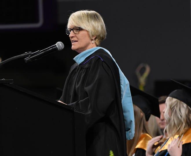 Superintendent Kathy Hipp, Anderson School District Three, speaks during a Crescent High School graduation in Littlejohn Coliseum in Clemson.