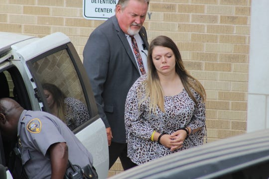 Hanna Nicole Barker leaves the Natchitoches Parish Courthouse Thursday after a hearing in her first-degree murder case. The state said a decision would be made by Aug. 1 on whether it will seek the death penalty for Barker, who is accused in the July 2018 burning death of her 6-month-old son.