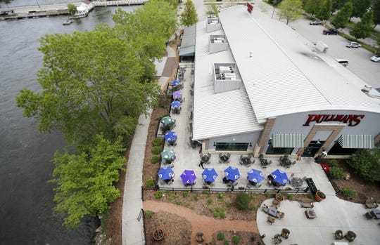 Pullmans at Trolley Square in Appleton features a patio next to the Fox River.
