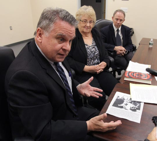US Congressman Chris Smith (R-NJ) is shown with Pat Smith, Lyme Disease Association President , and C. Ben Beard, Deputy Director, Division of Vector-Borne Diseases Center for Disease Control and Prevention, before a panel discussion about Lyme disease research held at the Wall Township Municipal building Wednesday, May 29, 2019.