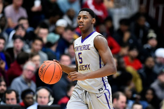 Jan 15, 2018; Springfield, MA, USA; Montverde Academy Eagles guard R.J. Barrett (5) dribbles the ball during a game against the Mater Dei High School Monarchs at Springfield College. Mandatory Credit: Brian Fluharty-USA TODAY Sports