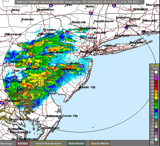 Radars shows thunderstorms moving into New Jersey