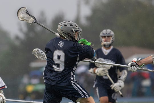 Manasquan's Canon Birch takes a shot at goal during first half action. Manasquan Boys Lacrosse vs Mountain Lakes in NJSIAA Group 1 Boys Lacrosse State Final in West Long Branch, NJ.