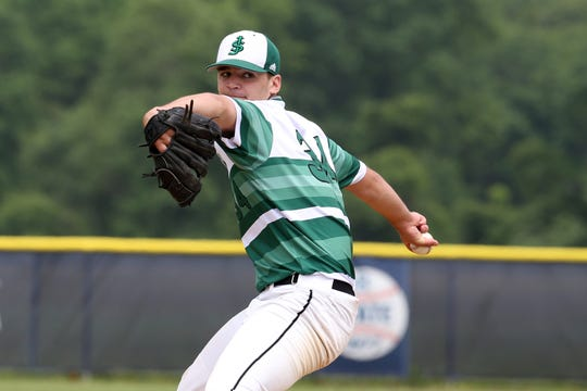 St. Joseph's Adam Boucher pitches during first inning of the St. Joseph (Metuchen) and Christian Brothers Academy NJSIAA Nonpublic South A semifinal baseball game at CBA in Lincroft, NJ Wednesday May 29, 2019.