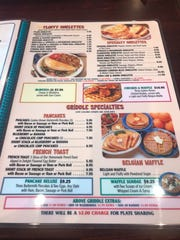 A look at the breakfast menu at the Toms River Diner.