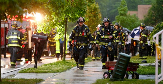 Jackson Township depart from a home at 6 Noam Lane in Lakewood that was reportedly struck by lightning during storms Wednesday evening, May 29, 2019.