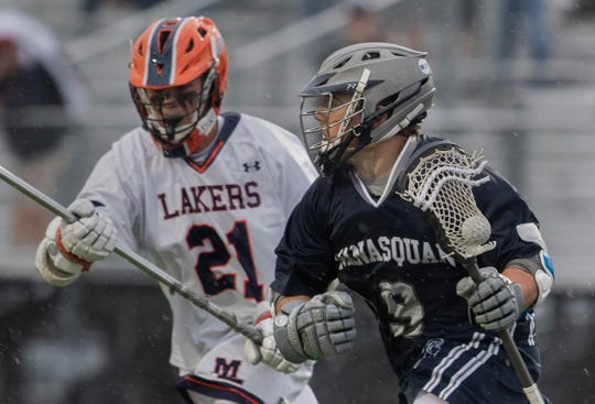 Canyon Birch, Manasquan, works in towards the goal during first half action. Manasquan Boys Lacrosse vs Mountain Lakes in NJSIAA Group 1 Boys Lacrosse State Final in West Long Branch, NJ.