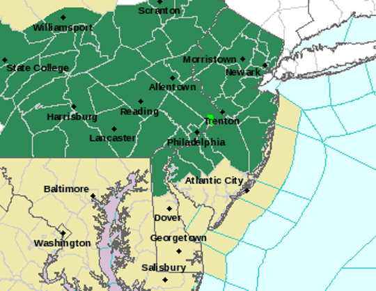 The dark green sections of map will be under a flash flood watch Thursday afternoon.