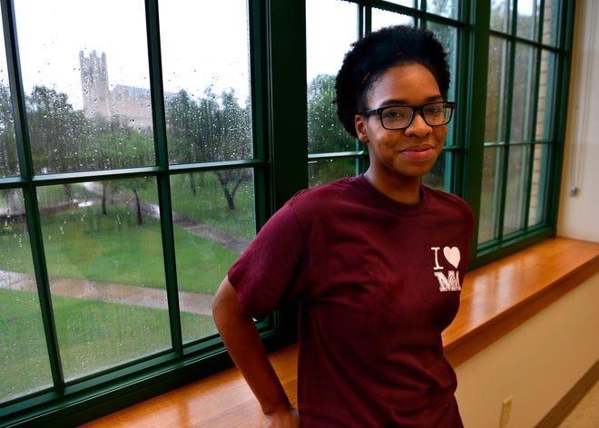 Symone Fiedler, a theater major at McMurry University, inside the campus' Old Main on Wednesday. Fiedler will soon begin a two-month summer internship with the Smithsonian Institute's donor relations department in Washington, D.C.
