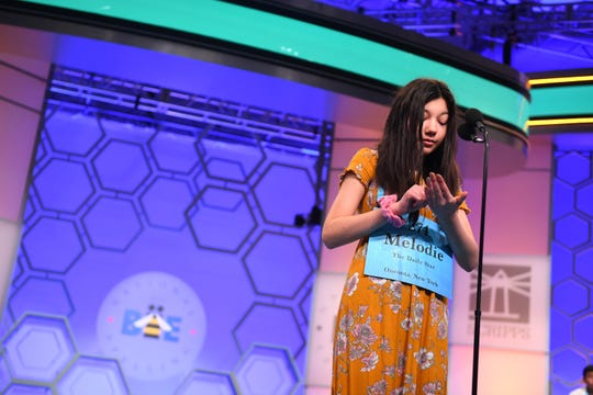 May 30, 2019: Melodie Loya spelled the word 'gnotobiotic' correctly during the 2019 Scripps National Spelling Bee at the Gaylord National Resort and Convention Center.