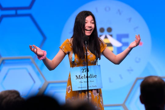 Melodie Loya reacts after she spelled the word 'madrague'  correctly during the 2019 Scripps National Spelling Bee at the Gaylord National Resort and Convention Center.