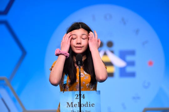 May 30, 2019: Melodie Loya spelled the word 'madrague' correctly during the 2019 Scripps National Spelling Bee at the Gaylord National Resort and Convention Center.