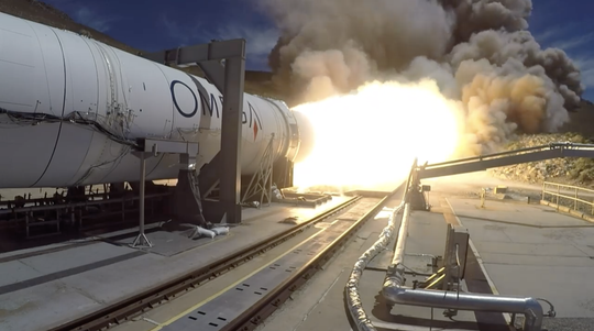 Northrop Grumman test fires the first stage of its Omega rocket in Promontory, Utah, on Thursday, May 30, 2019. After a successful test, the engine's nozzle appeared to shatter into pieces.
