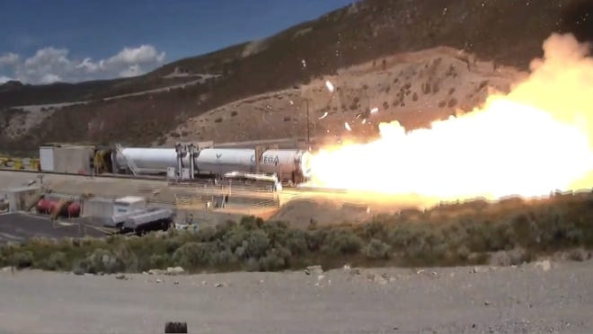 The moment Northrop Grumman's Omega first stage lost the exit cone of its engine nozzle. The company was test firing the rocket for the first time in Utah on Thursday, May 30, 2019.