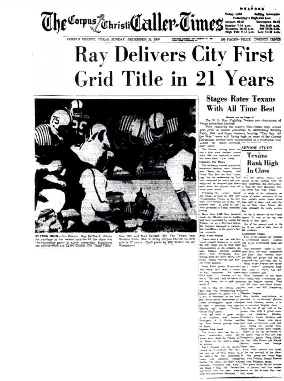 The front page of the Corpus Christi Caller-Times after Ray High School won the 1959 state football championship.