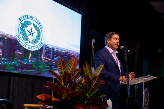 Philip Ramirez, Chair of the United Corpus Christi Chamber of Commerce, speaks at the State of Nueces County luncheon at the Richard M. Borchard Regional Fairgrounds on Thursday, May 30, 2019.