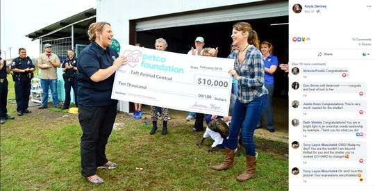 A screenshot shows Kayla Denney, an animal control officer at Taft Animal Control, accepting a $10,000 award from the Petco Foundation. Denney was namedthe 2019 Unsung Hero.