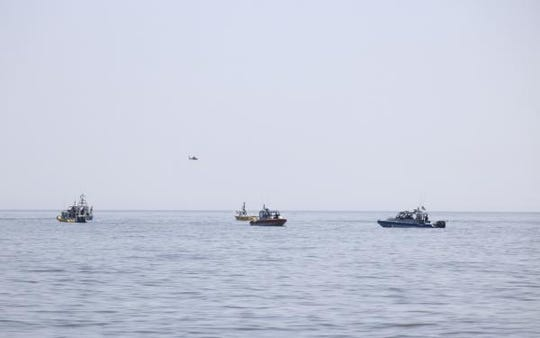 Federal, state and local agencies search for a missing pilot off Cape May Point on Wednesday.