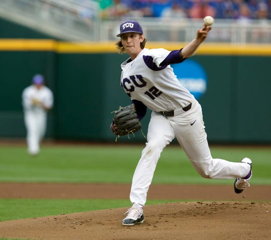 Jun 22, 2017; Omaha, NE, USA; TCU Horned Frogs pitcher Nick Lodolo (12) throws against the Louisville Cardinals in the first inning at TD Ameritrade Park Omaha. Mandatory Credit: Bruce Thorson-USA TODAY Sports