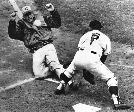 AUGUST 13, 1961: Cincinnati pitcher Ken Johnson, trying to score from first on a double by second baseman Elio Chacon in the fifth inning  at San Francisco, finds Giants' catcher Ed Bailey in full command at the plate.
