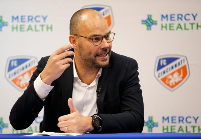 New FC Cincinnati general manager Gerard Nijkamp takes questions during a press conference to introduce him as the team's new general manager at the FC Cincinnati practice facility in Milford, Ohio, on Thursday, May 30, 2019. FC Cincinnati announced team president Jeff Berding would be stepping away from soccer operations to make way for the new GM.