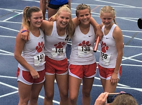 Beechwood's 4x400 relay team won the event, and then the team title for the Tigers. From left, Caroline Schilling, Audrey Pelster, Madie Hazzard, Maryah Counts, May 30, 2019.