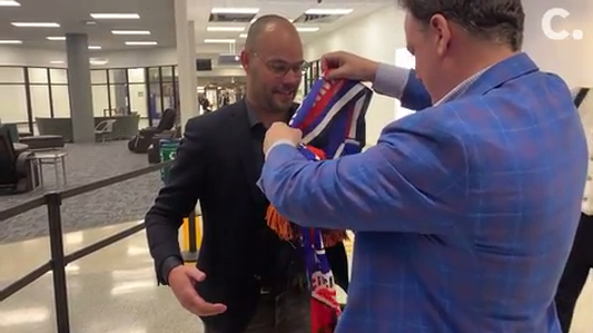 FC Cincinnati GM Gerard Nijkamp arrived late Wednesday at Cincinnati-Northern Kentucky Airport ahead of his Thursday introduction to local media.