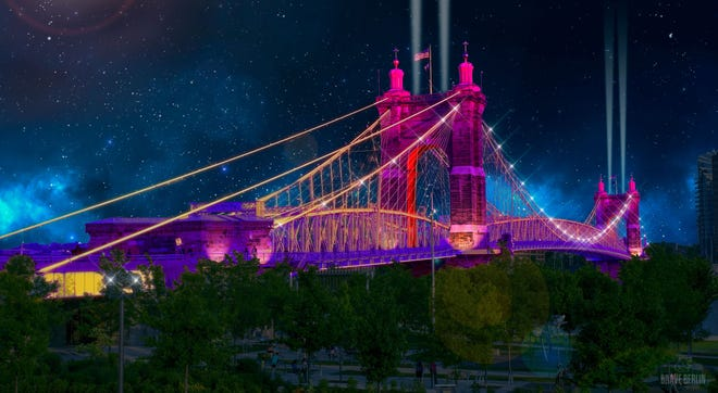 This is a rendering of the what the Roebling Bridge will look like during Blink, an art and light festival that returns to Cincinnati and Northern Kentucky in October.