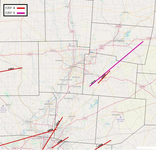 The tracks of local EF4 and EF5 tornadoes, the two strongest possible, over the past half-century are drawn in this graphic from the National Weather Service.