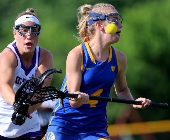 Mariemont attacker Ellie Poindexter  plays during the Warriors' state semifinal against Columbus DeSales Wednesday, May 29,2019.