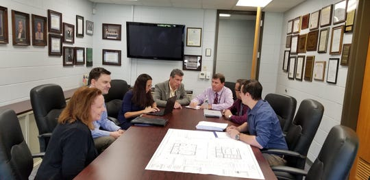 MCVTS administrators meet with architects to plan the classroom for a new major in music performance and technology.