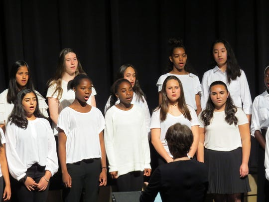 The Emelyn girls' choir sings at the Middles School spring concert