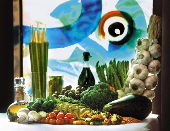 The Mediterranean Diet is rich in breads, pastas, vegetables, fruit and legumes. Olive oil is used in cooking in lieu of butter or other fats. Seafood is emphasized over red meat.
