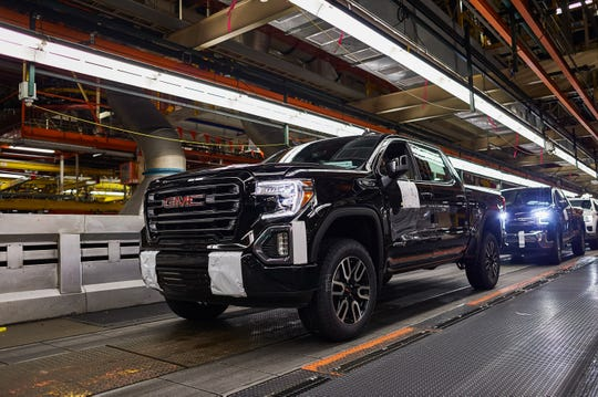 A GMC Sierra 1500 pickup on the assembly line at the General Motors Fort Wayne Assembly plant on Tuesday, May 14, 2019 in Roanoke, Indiana.