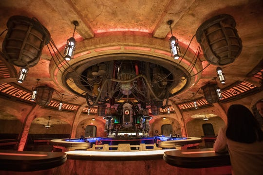 A view of the bar in Oga?s Cantina as media members get a preview during the Star Wars: Galaxy's Edge Media Preview event at the Disneyland Resort in Anaheim, Calif., on May 29, 2019. (Allen J. Schaben/Los Angeles Times/TNS)